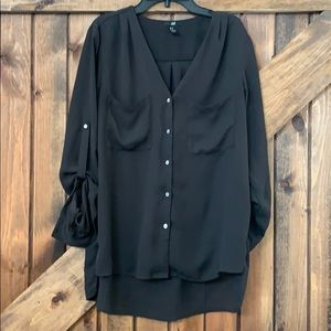 Dark brown button up H&M blouse